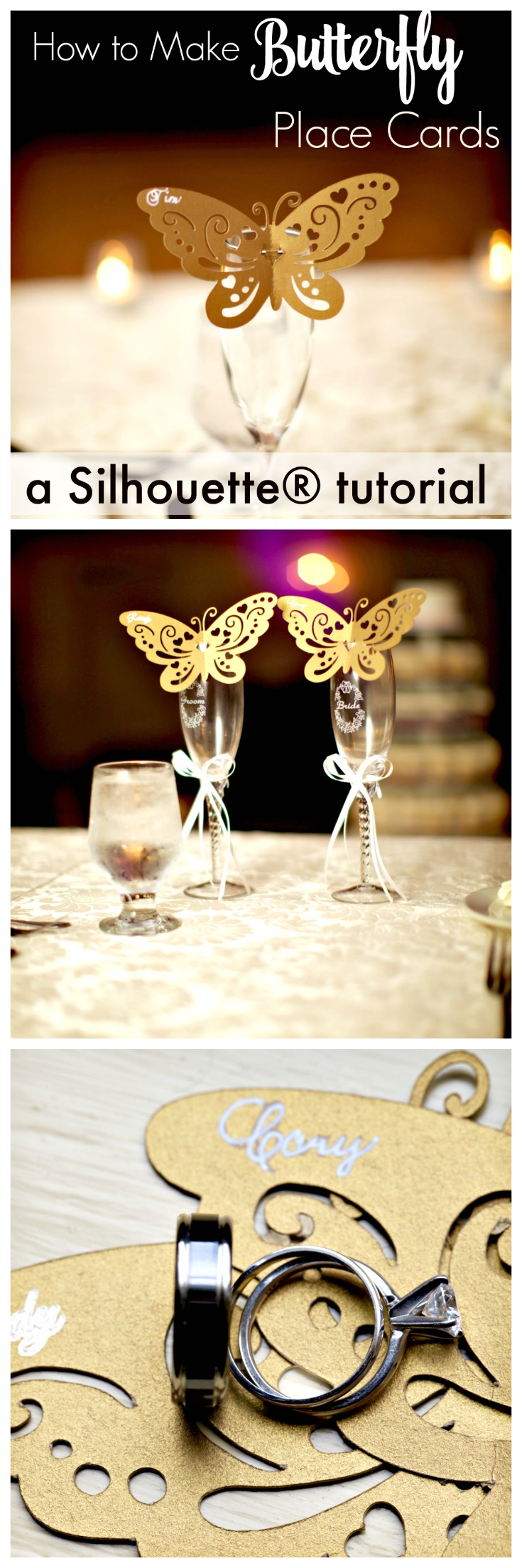How to use your Silhouette machine to make wedding DIYs. Make these lovely butterfly place cards that perch on the rim of goblets instead of traditional and boring tent type place cards.