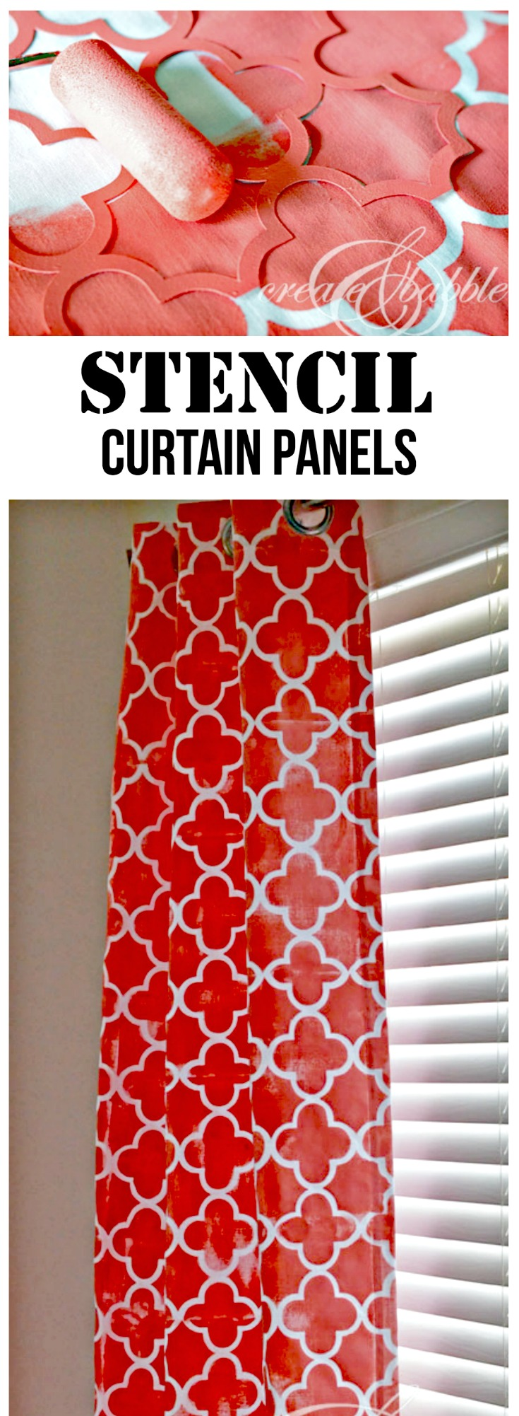 How to make stencils and then use them to stencil paint plain curtain panels