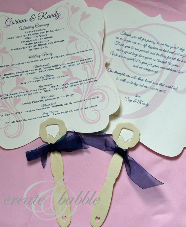 DIY Wedding Programs Fans Createandbabble