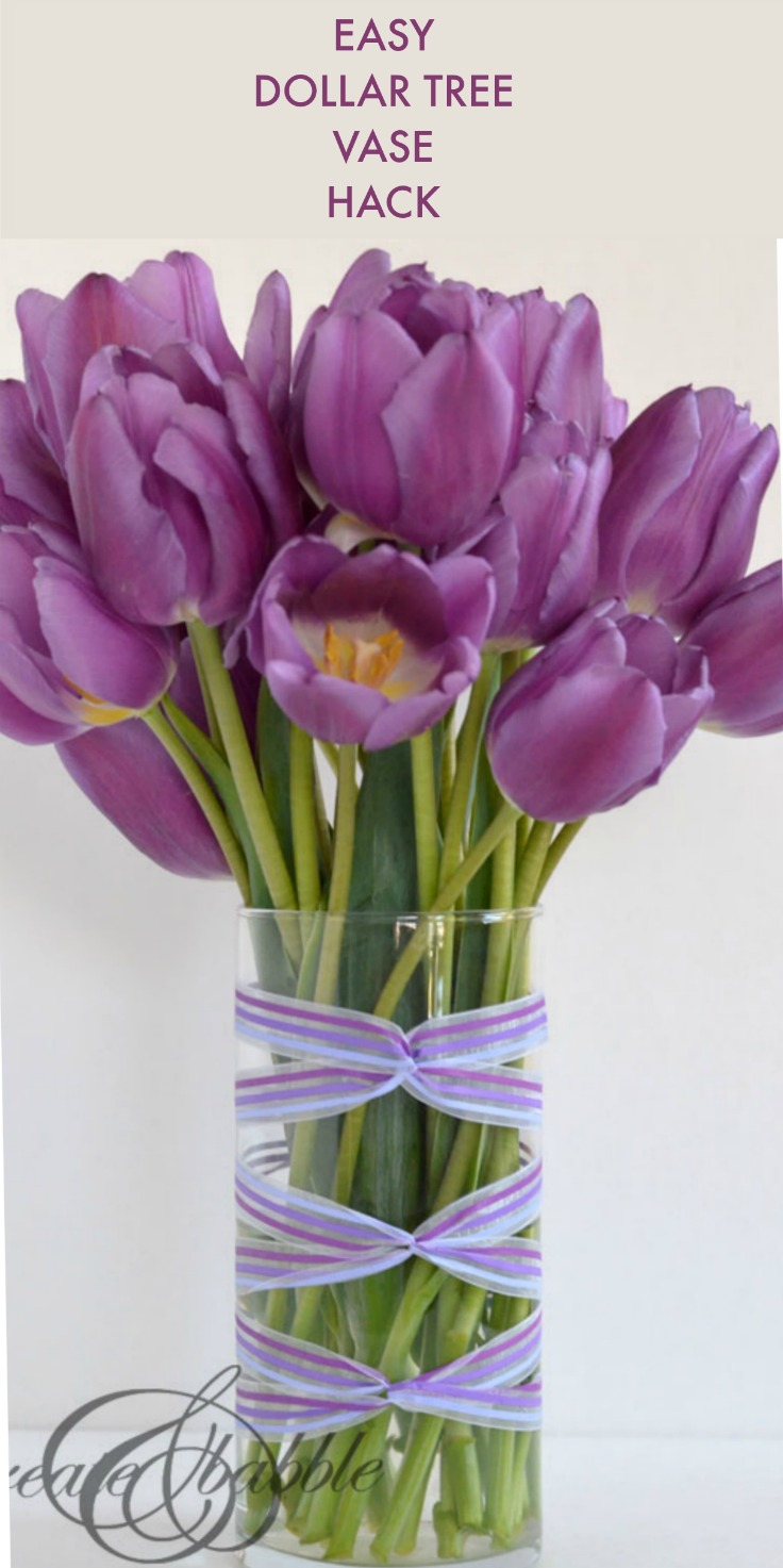 Ribbon wrapped vase create and babble wrap ribbon around a dollar store for a fun and easy spring decor idea floridaeventfo Images