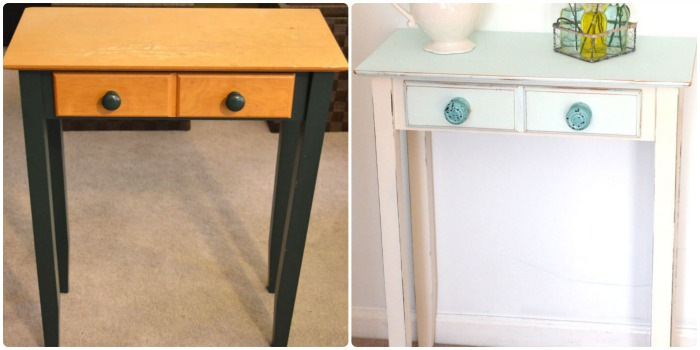 before and after chalk painted table_createandbabble