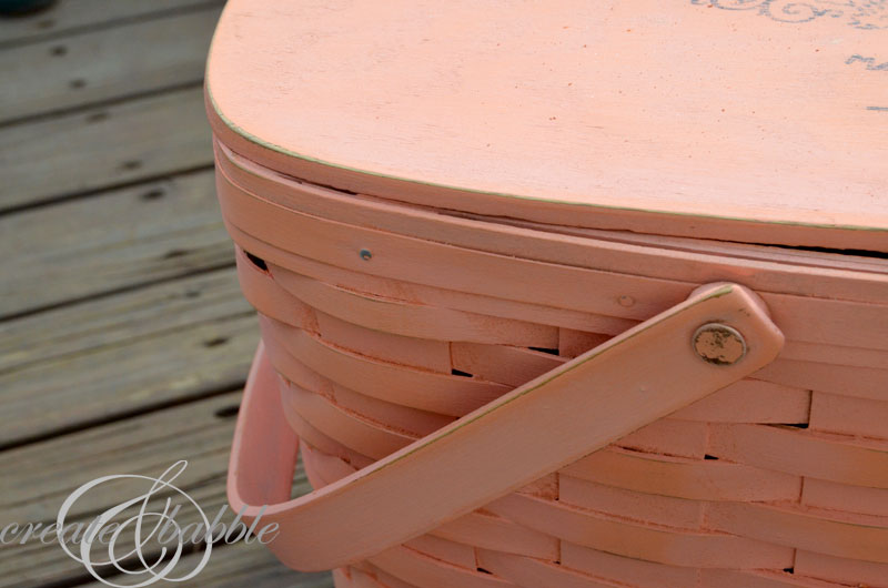 painted longaberger basket_createandbabble