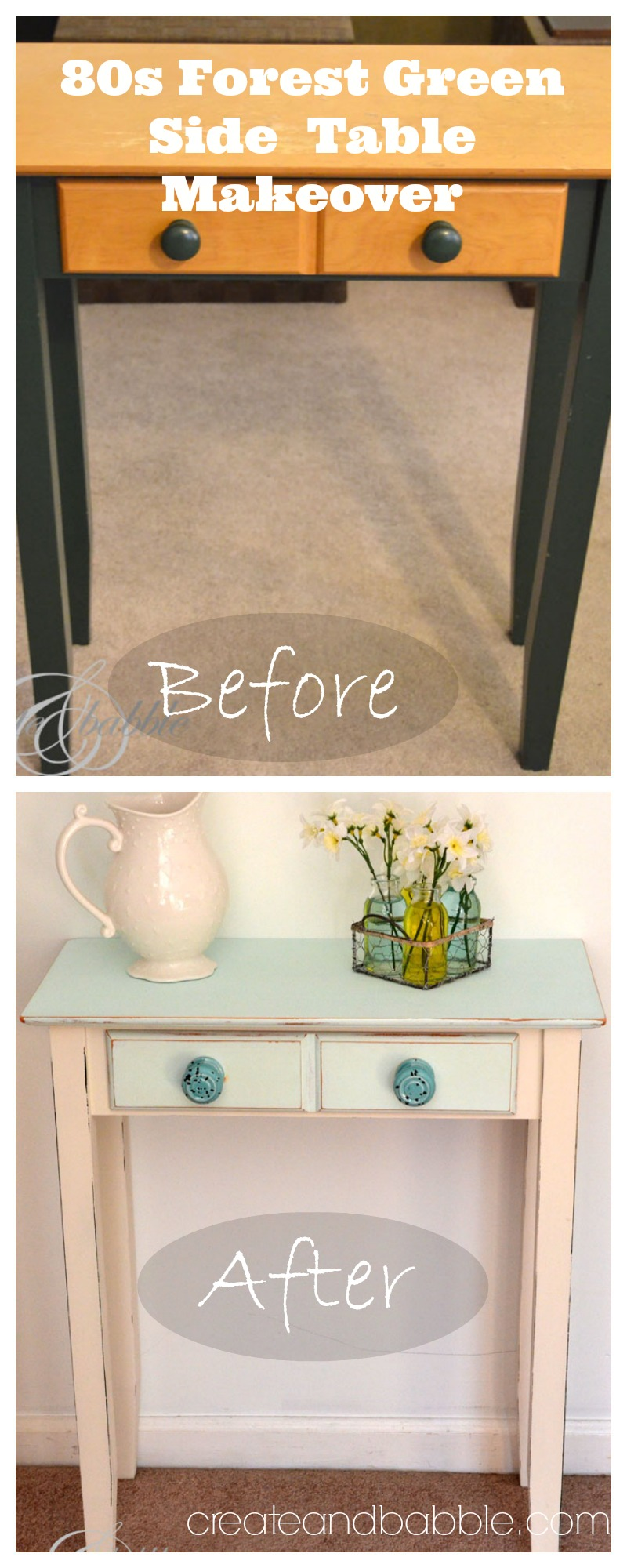 side table makeover by createandbabble.com