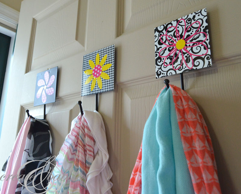 scarf storage solution vinyl decorated hooks_createandbabble