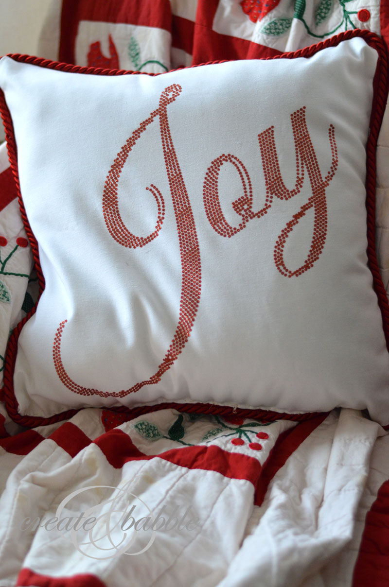 joy christmas pillow_createandbabble
