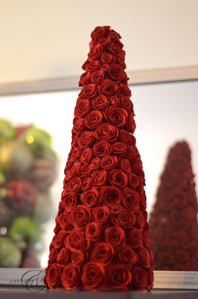 Rolled Paper Roses Christmas Tree