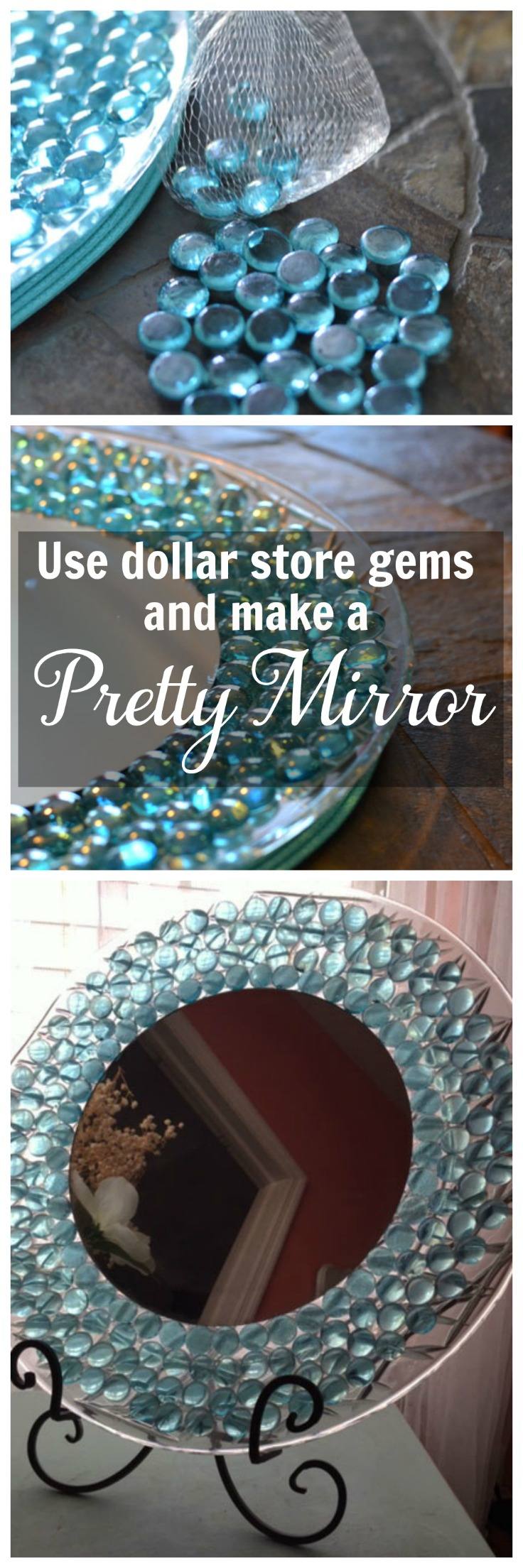 Use dollar store gems to make a pretty mirror