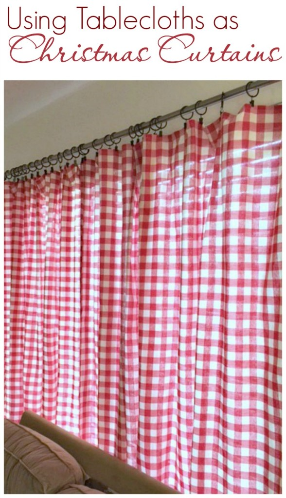Using tablecloths as Christmas Curtains-createandbabble.com