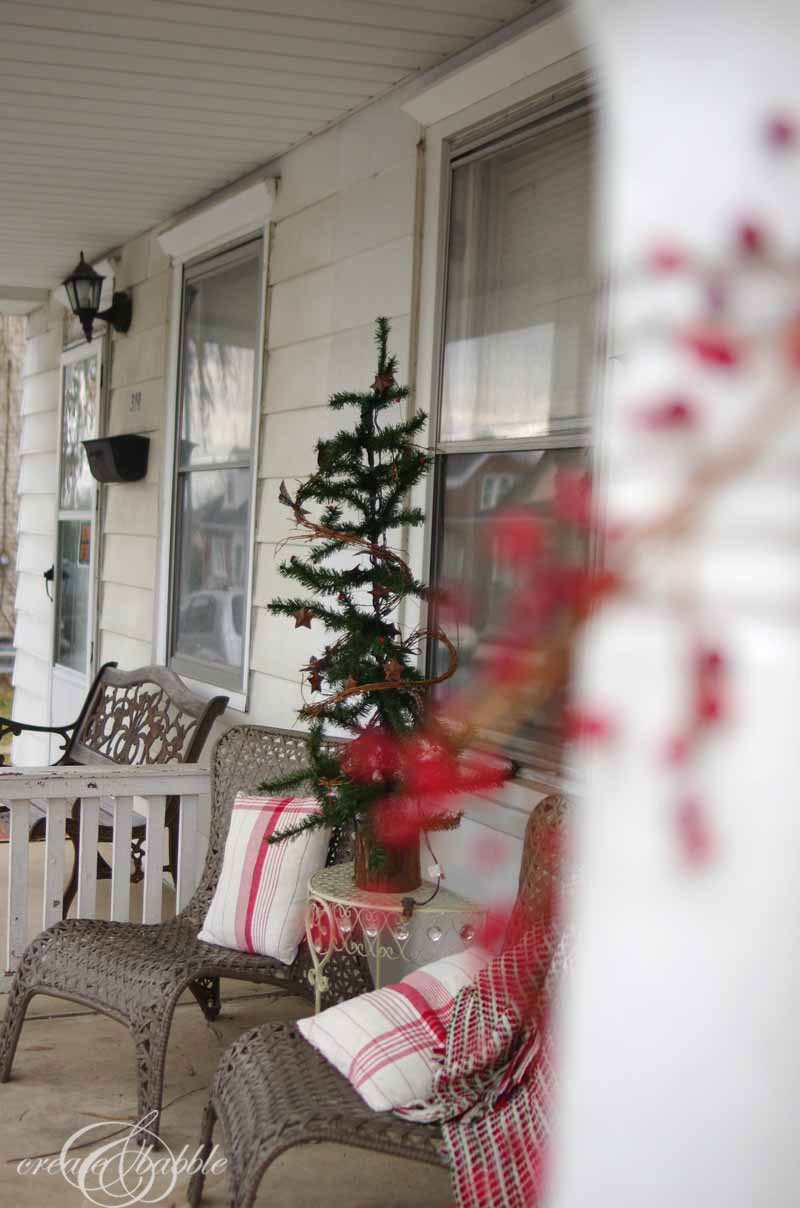 front porch christmas decor by createandbabble.com