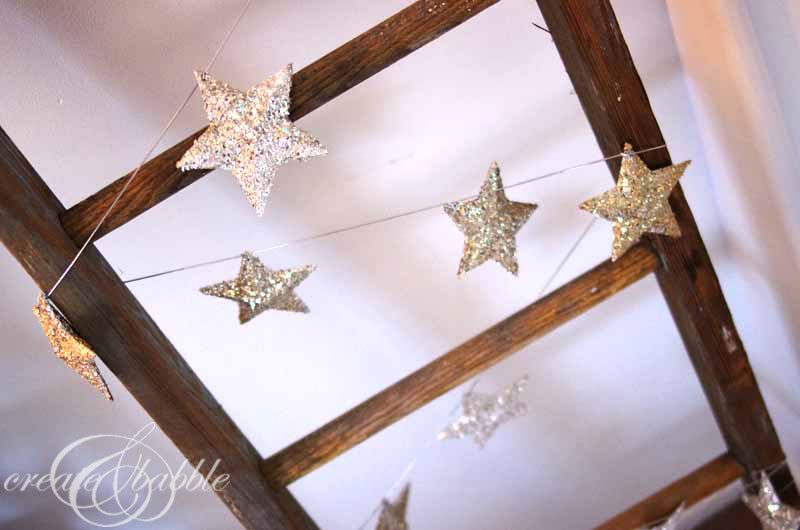 Glitter glass christmas star garland create and babble