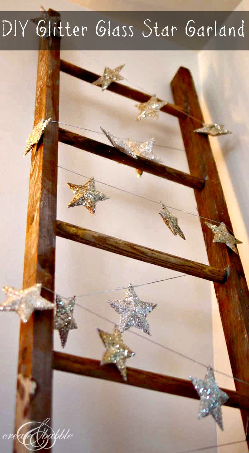 DIY GLITTER GLASS STAR GARLAND
