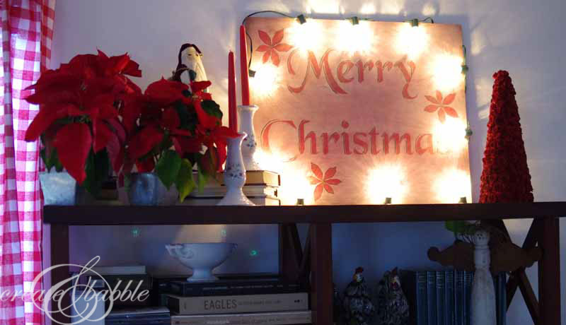merry christmas sign with lights