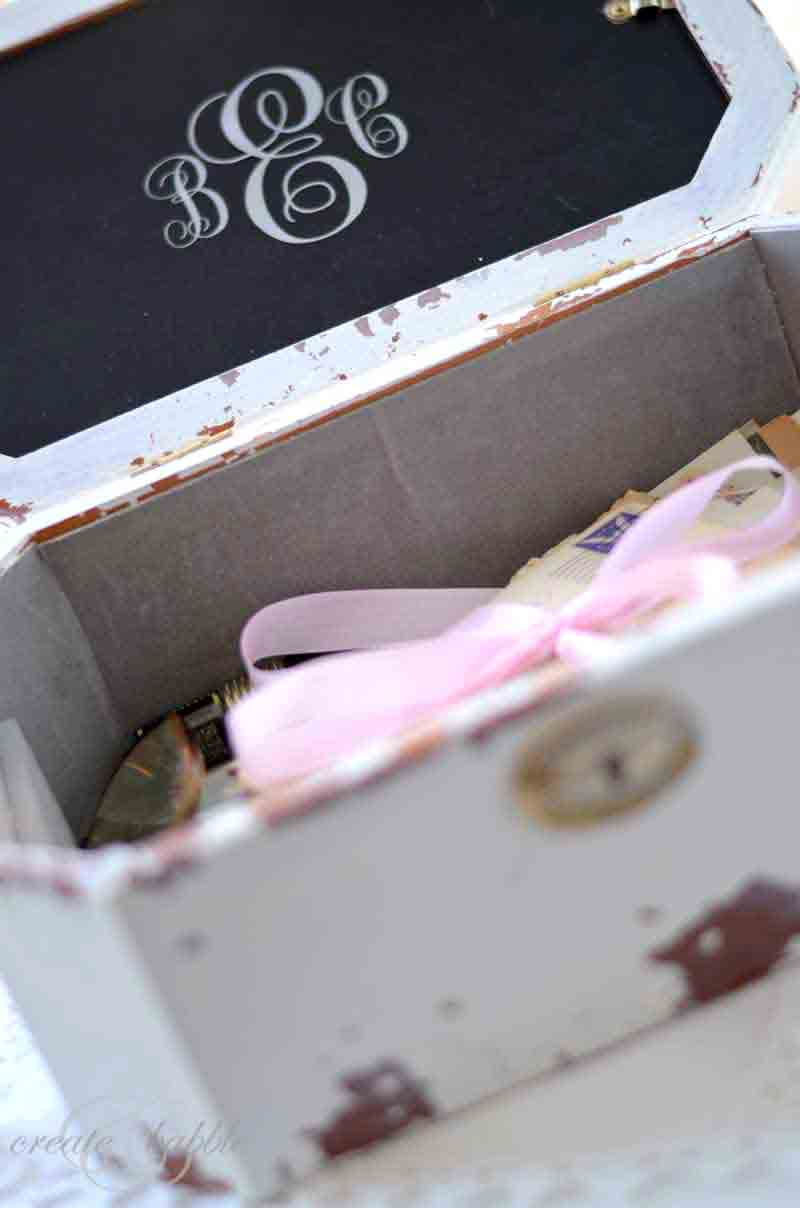 Monogrammed inside of DIY love letter box