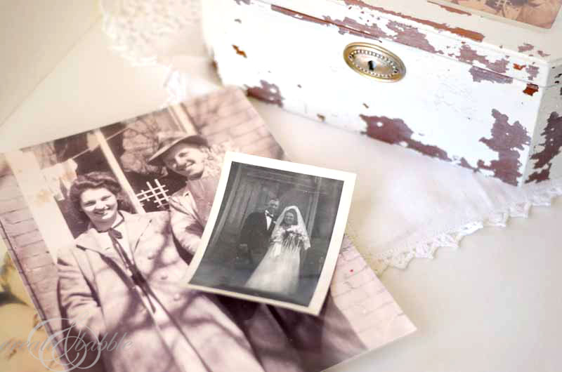 old photographs were added to the love letter box