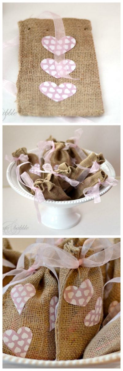Burlap Valentine's Day Treat Bags to Make