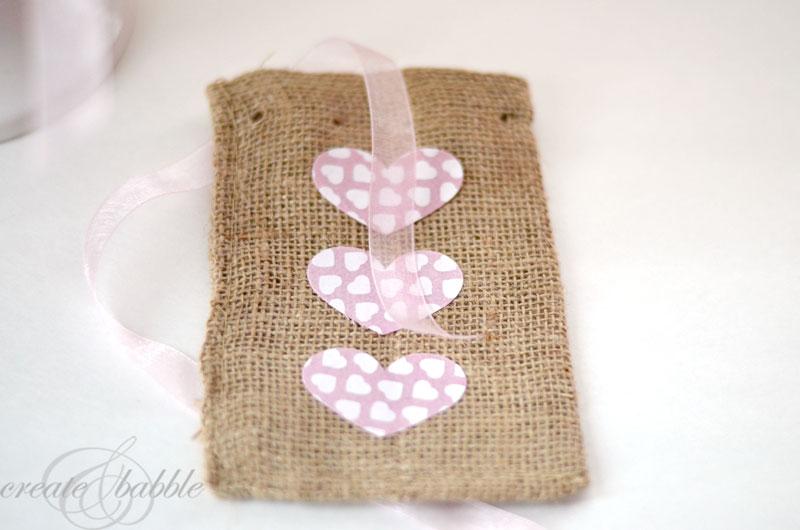valentine burlap bags by createandbabble
