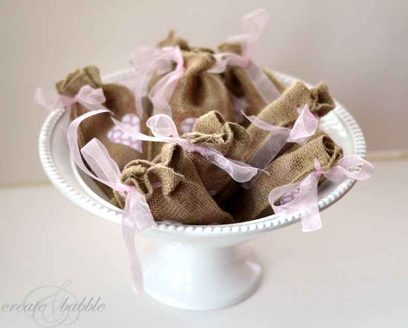 valentines burlap treat bags by createandbabble