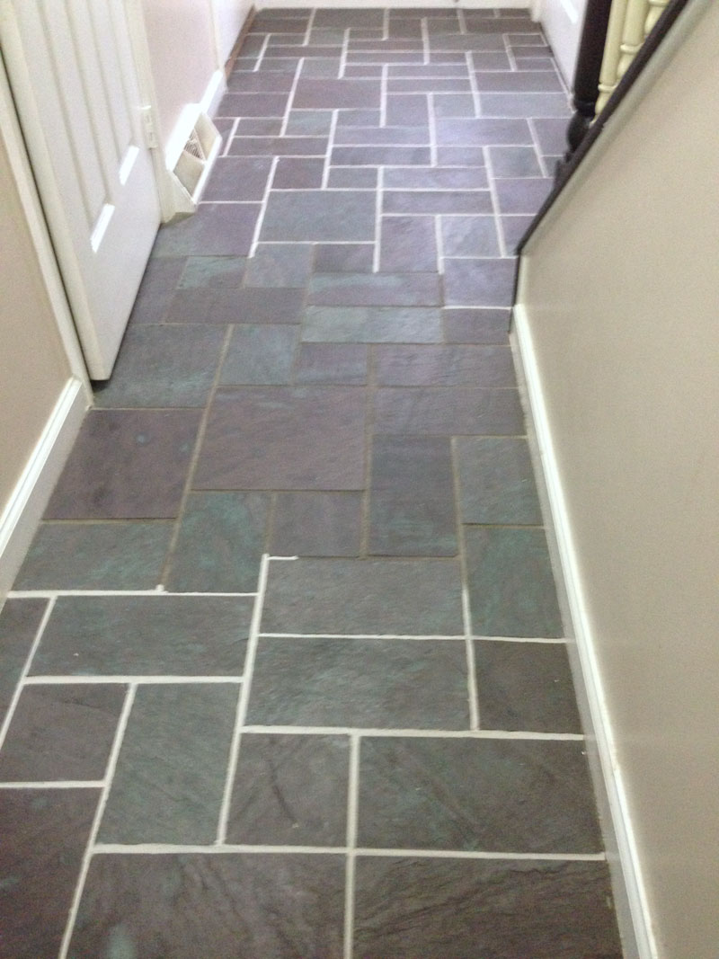 Slate And Dark Grout : How to grout a slate floor thefloors