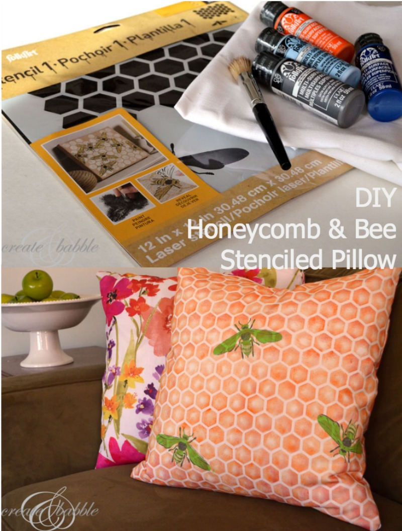 diy-honeycomb-bee-stenciled-pillow-by-createandbabble.com