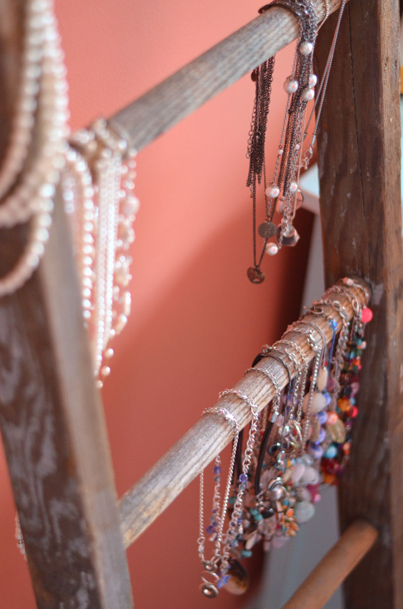 vintage ladder to hang necklaces by createandbabble