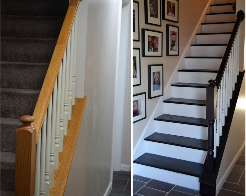 Staircase makeover create and babble for Ideas for redoing stairs