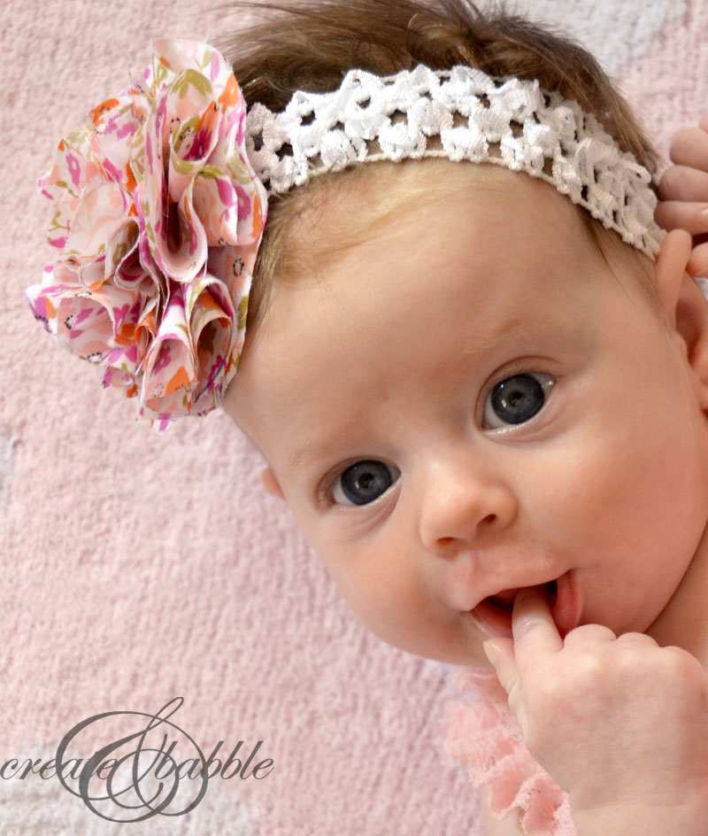 For this headband, cut a piece of decorative trim that is 2″ shorter than your baby's head circumference. Cut a piece of 1/4″ elastic that is ″ long and generously glue the elastic to both ends of the trim to complete the loop.