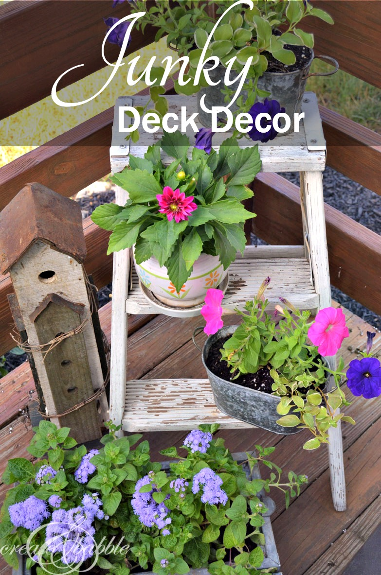 """Use old """"junk"""" or unused items for planters to decorate your deck 