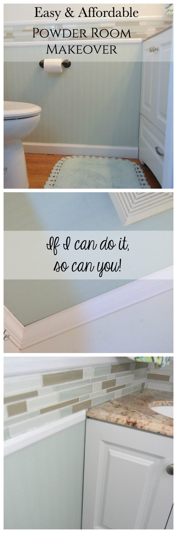 My Easy and Affordable Powder Room makeover. If I can do it, so can you!