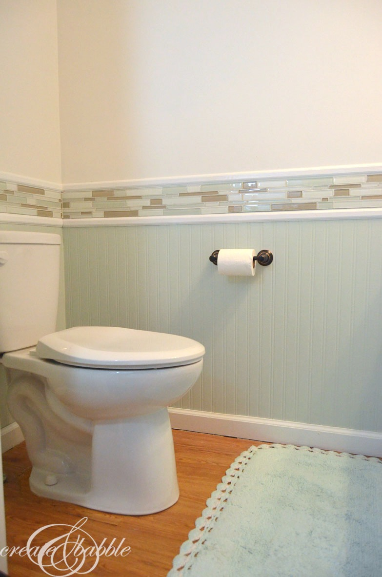 Powder room makeover create and babble - Bathroom remodel ideas with wainscoting ...