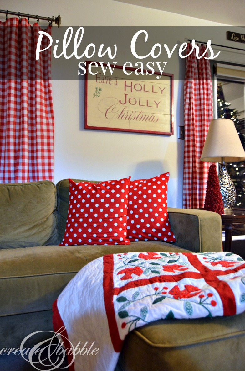 Easy Sew Christmas Pillows: Easy Sew Christmas Pillow Cover   Create and Babble,