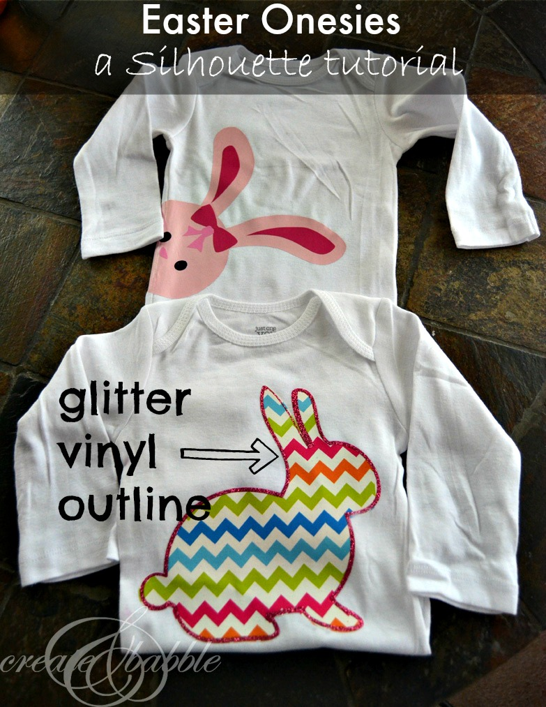 DIY Easter Onesie with glitter outline