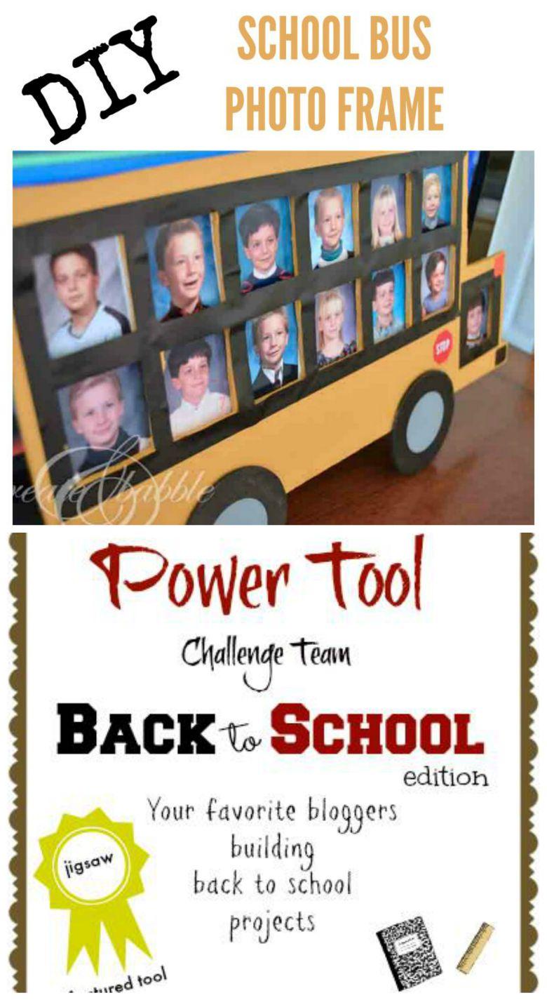 school bus photo frame pin