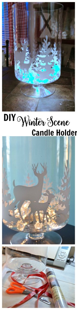 DIY Winter Scene Candle Holder