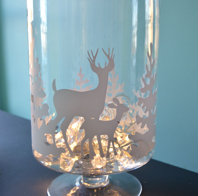 DIY Winter Glass Candle Holder-createandbabble.com