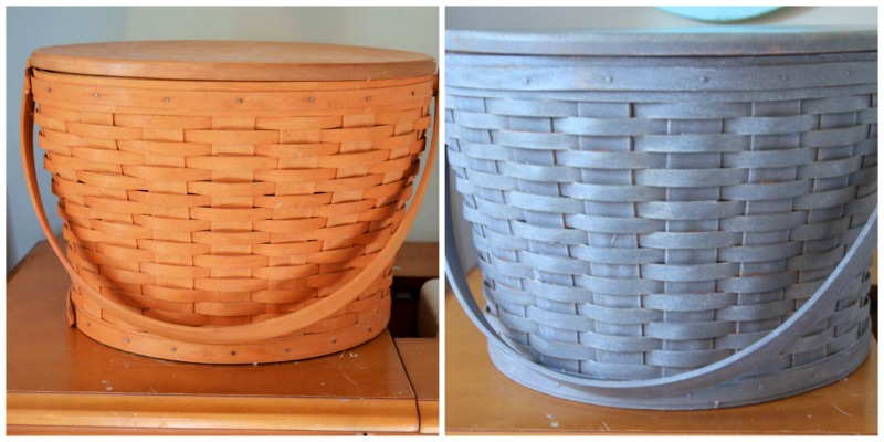 Before and After of a basket that was antiqued with paint and liming wax