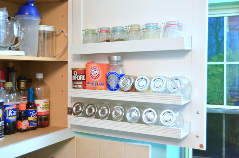DIY Inside Kitchen Cabinet Door Shelf