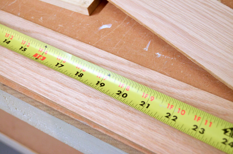 Measuring wood for making inside cabinet door shelf
