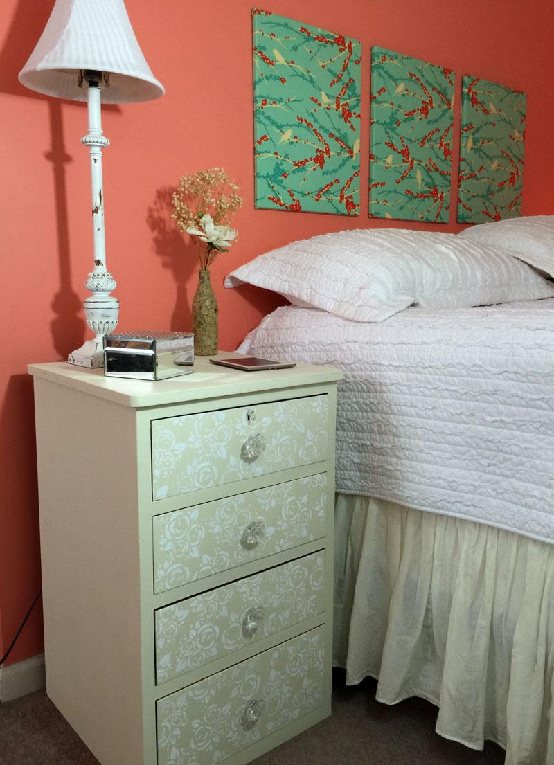 Rose stenciled nightstand