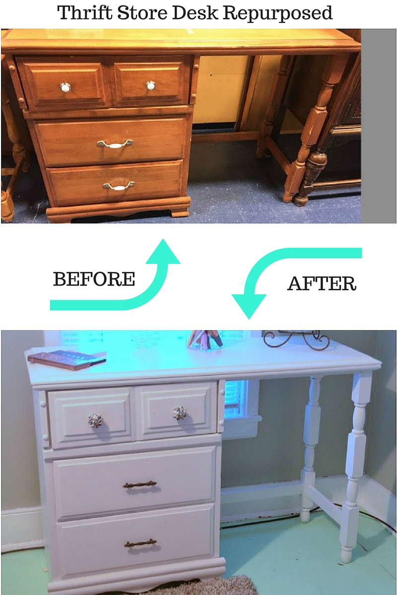 Turn a thrift store desk into a pretty and functional vanity with lots of storage