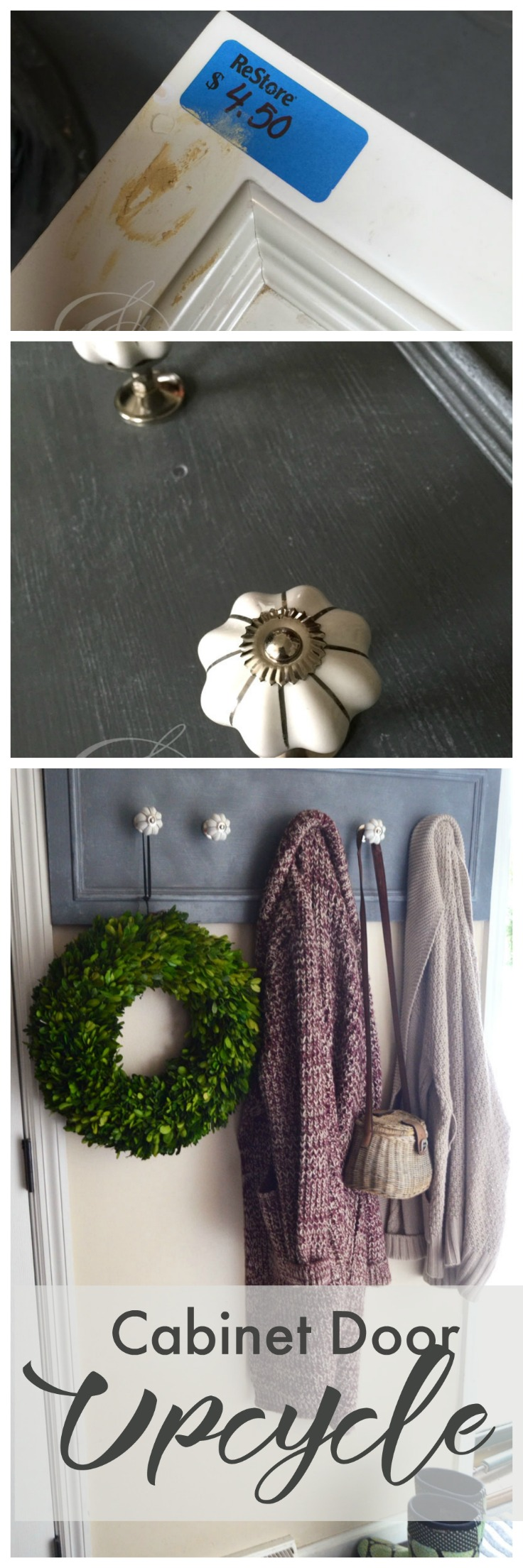 Make a pretty coat rack with an old cupboard door. See this tutorial on how to refinish an old cupboard door with paint and liming wax., then add pretty knobs