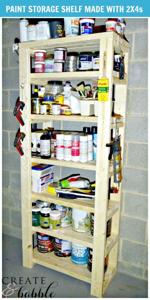 Build a paint storage shelf with 2x4s
