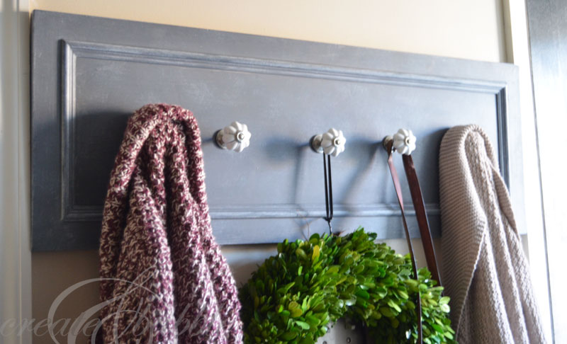 DIY Upcycled Cupboard Door into Coat Rack
