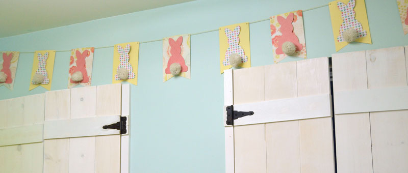 Easter Bunny Bunting on kitchen wall