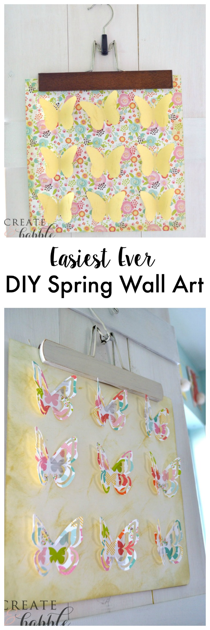 Easiest Ever Spring Wall Art made with card stock and wooden hangers