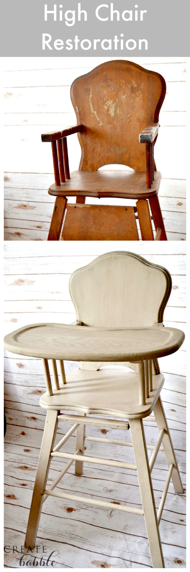 I restored my old high chair with products from the Amy Howard at Home line. I gave it a Toscana finish by layering Toscana Milk Paint in Noir over One Step Paint in Linen. The aged appearance was achieved with the use of furniture glaze.