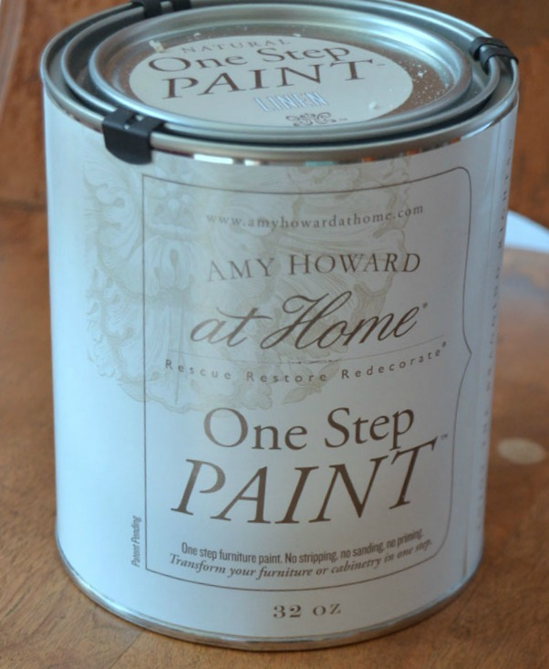 I used Amy Howard at Home One Step Paint in Linen as the base color of the restored high chair.