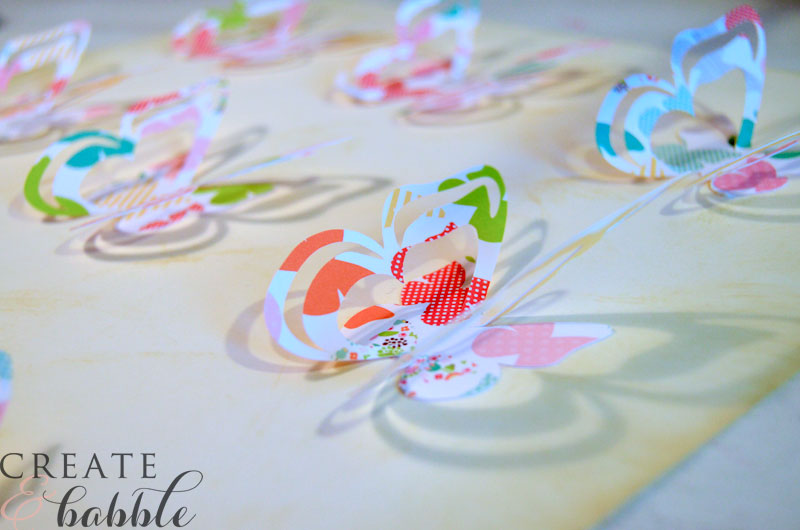 Butterflies attached to card stock for easy spring wall art
