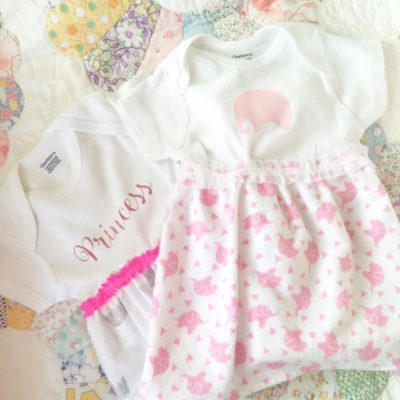 personalized onesie dress with vinyl to match fabric skirt