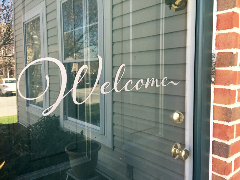 Vinyl Welcome Decal for the front door. an easy beginner Silhouette machine project