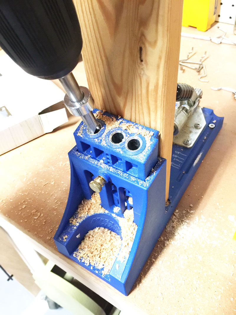 the frame for the garden bench was put together with pocket screws in pocket holes made with a kreg jig